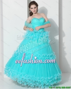 Pretty Sweetheart Quinceanera Dresses with Ruffled Layers and Beading