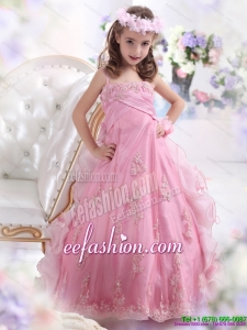 2015 Unique Rose Pink Spaghetti Straps Little Girl Pageant Dress with Appliques