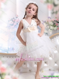 Beading Ruffled 2015 White Little Girl Pageant Dress with Bownot