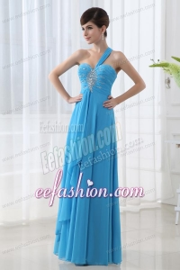 Empire Blue Chiffon Prom Dress with One Shoulder Beading and Ruching