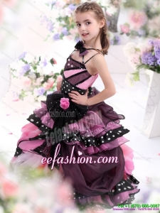 Multi Color Ruffled 2015 Little Girl Pageant Dress with Bownot and Hand Made Flower