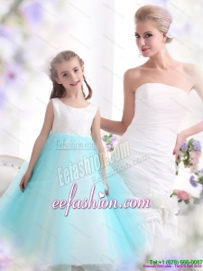 Popular White and Baby Blue Scoop Little Girl Pageant Dress for 2015
