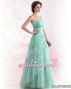 2015 Appple Green Sweetheart Prom Dresses with Ruching and Beading