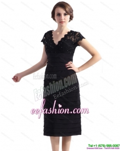 2015 Fashionable Cap Sleeves Black Prom Dress with Beading and Ruching