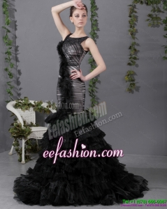 2015 Fashionable Mermaid Prom Dress with Ruffled Layers and Brush Train