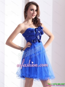2015 Fashionable One Shoulder Prom Dresses with Beading and Hand Made Flowers