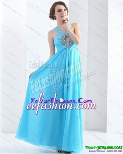 2015 Gorgeous Halter Top Floor Length Prom Dress with Ruching and Beading
