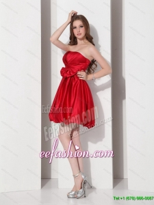 2015 Gorgeous Strapless Bowknot Mini Length Prom Dress in Red