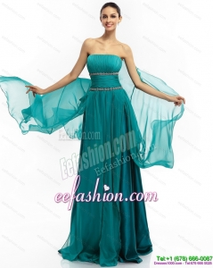 2015 Inexpensive Strapless Prom Dress with Ruching and Beading