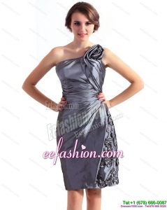 2015 Modest One Shoulder Knee Length Prom Dress with Hand Made Flowers and Ruching
