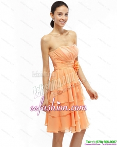 2015 Pretty Strapless Short Prom Dresses with Ruching and Hand Made Flower