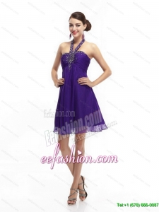 2015 Purple Beading Halter Top 2015 Prom Dresses with Ruching