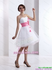 2015 Romantic Sweetheart White Prom Dress with Hand Made Flowers
