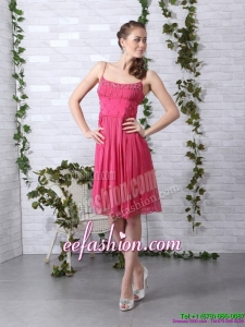 Beading Spaghetti Straps Ruching Coral Red Prom Dresses for 2015
