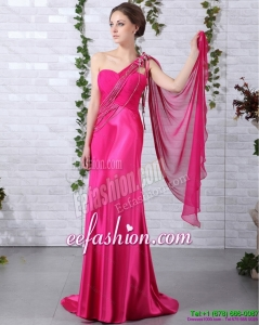 Elegant 2015 One Shoulder Fuchsia Prom Dress with Beading and Ruching