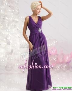 Elegant V Neck Floor Length Prom Dress with Beading and Ruching