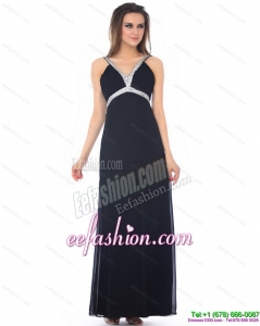 Exquisite Floor Length Beading Black Prom Dress for 2015