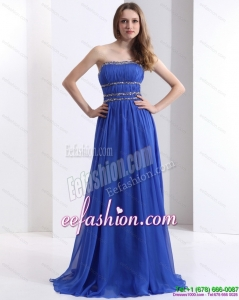 Fashionable 2015 Strapless Prom Dress with Ruching and Beading