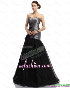 Fashionable Appliques Ruching Brush Train Prom Dresses in Sliver and Black