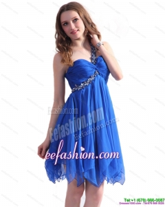 Fashionable Blue One Shoulder Prom Dresses with Ruffles
