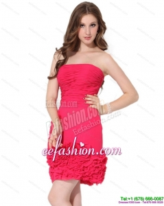 Fashionable Strapless Mini Length Prom Dresses with Ruching