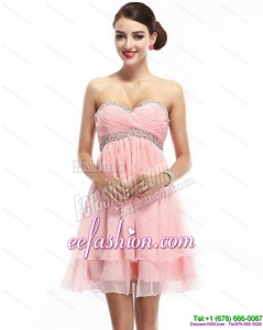 Fashionable Sweetheart 2015 Prom Dress with Beading and Ruching