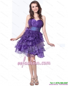 Fashionable Sweetheart Short Prom Dresses with Ruffled Layers