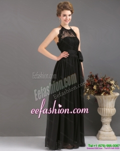 Gorgeous 2015 Halter Top Sash Prom Dress in Black