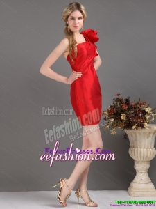 Inexpensive One Shoulder Mini Length Red Prom Dress with Ruching