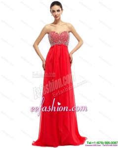 Pretty Beading Sweetheart Ruching Prom Dresses with Brush Train