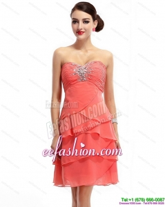 Pretty Mini Length Sweetheart Prom Dresses with Rhinestones and Ruching