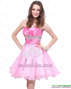 Rose Pink 2015 Mini Length Prom Dresses with Beading and Ruching