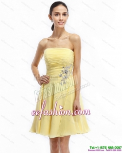 Strapless Mini Length Prom Dresses with Ruching and Rhinestones