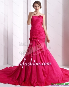 The Brand New 2015 Prom Dress with Hand Made Flowers and Ruching