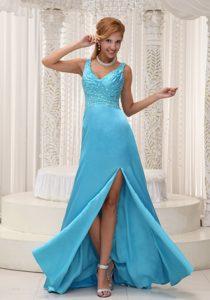 High Slit Aqua Straps Blue and Beaded Celebrity Dresses for Less