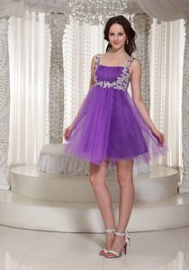 Appliqued Straps Celebrity Inspired Dress to Mini-length in Purple on Sale