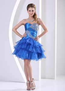 Peacock Blue Ruched and Layered Sweetheart Celebrity Dresses for Prom