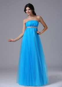Custom Made Aqua Blue Strapless Tulle Celebrity Dress for Less with Belt