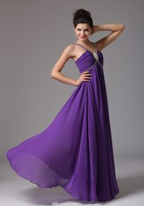 Empire Spaghetti Straps Celebrity Inspired Dresses with Ruche and Beading