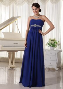Affordable Royal Blue Chiffon Empire Beaded Celebrity Dresses for Prom