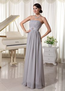 Simple Grey Empire Celebrities Dresses for Less with Ruche and Beading