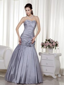 Grey A-line Sweetheart Celebrity Dresses for Less in with Flowers
