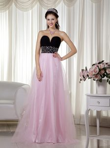 Pink and Black A-line Sweetheart and Tulle Celebrity Inspired Dress