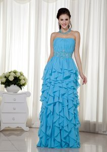 Aqua Blue Empire Strapless Chiffon Betty Celebrities Dresses with Beading
