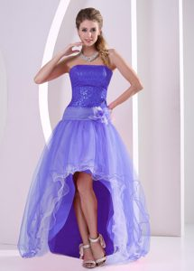High-low Purple Organza Celeb Dresses for Less with Sequins and Flower
