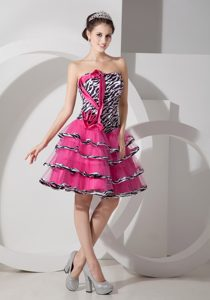 Sweet Zebra Printed Strapless Organza Short Red Carpet Dress in Hot Pink