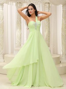 Yellow Green One Shoulder Betty Celebrity Dress with Ruche and Beading