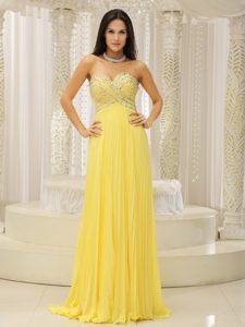 Yellow Sweetheart and Beaded Celeb Dresses for Less with Pleat