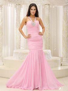 Best Mermaid V-neck Beaded and Ruched Hollywood Inspired in Baby Pink