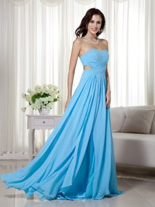 Chiffon Beaded Empire Sweetheart Celebrities Dress for Less in Aqua Blue